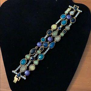 Lia Sophia 3-tier blue jewel bracelet